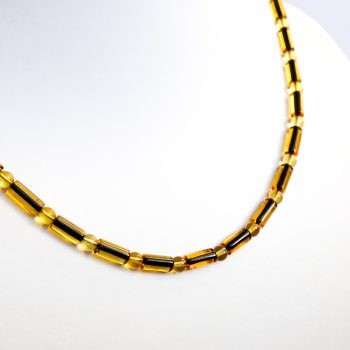 Green Polished Amber Necklace For Men