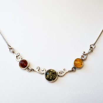Multi-Color Amber Pendant With A Silver Chain