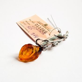 Silver And Natural Baltic Amber Brooch Rose