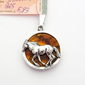 Baltic Amber And Silver Horse Pendant