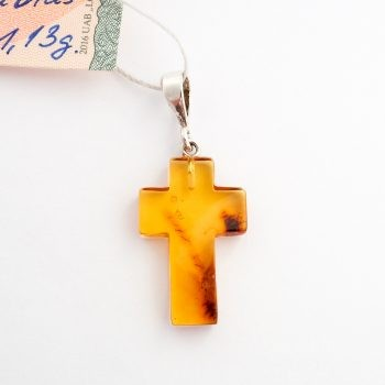 Baltic Amber And Silver Cross Pendant