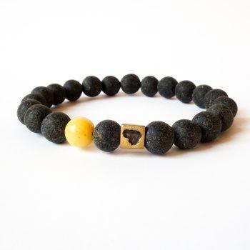 Dark Round Amber Beads Bracelet Lithuania