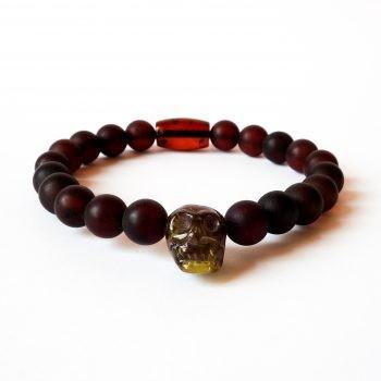 Unisex Dark Red Amber Bracelet With A Skull