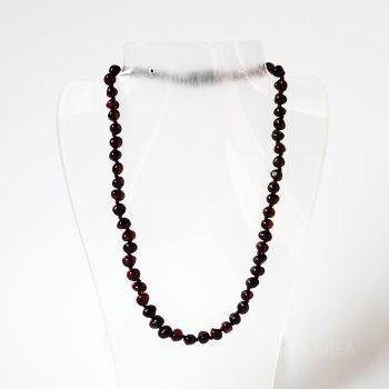 Dark Polished Amber Necklace For Kids