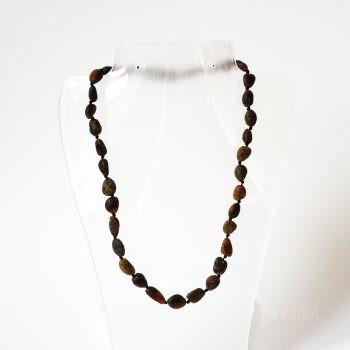 Dark Unpolished Amber Necklace For Kids