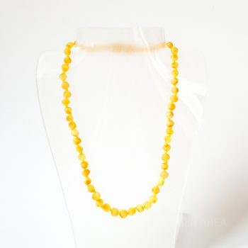 White Unpolished Amber Necklace For Kids