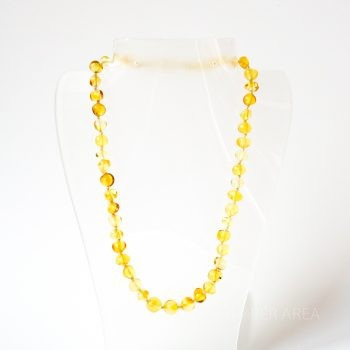 Yellow Polished Amber Necklace For Kids