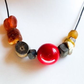 Unique Design Sea Oak Baltic Amber Necklace With Leather String