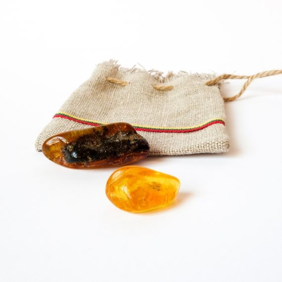 Amber Lucky Amulets With A Linen Bag
