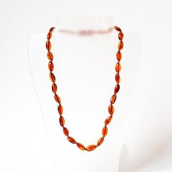 Brown Polished Amber Necklace For Kids