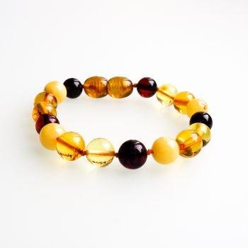 Multi-Color Polished Amber Bracelet For Kids