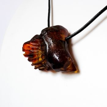 Unique Amber And Wood Necklace With Leather String