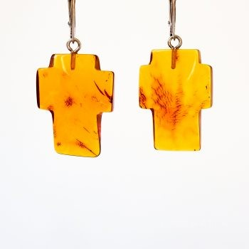 Baltic Amber And Silver Cross Earrings