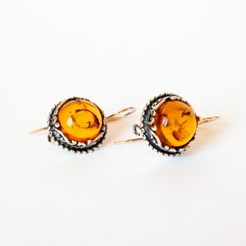 Baltic Amber And Silver Round Earrings