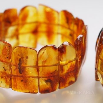 Baltic amber bracelet with uneven ends, plate wholesale