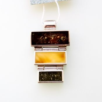 Three-Color Amber And Silver Pendant