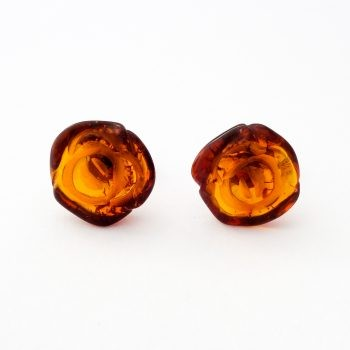 Baltic Amber And Silver Earrings Roses