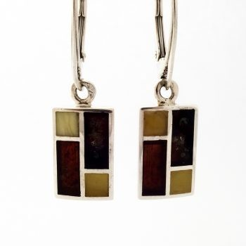 Rectangular Baltic Amber And Silver Earrings