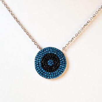 Round Silver And Cubic Zirconia Pendant With Chain
