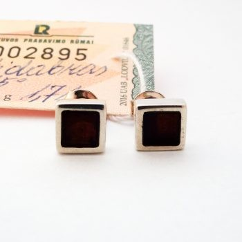 Square Baltic Amber And Silver Earrings