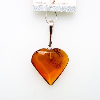 Baltic Amber And Silver Heart Pendant