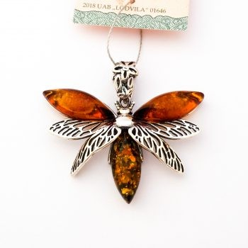 Baltic Amber And Silver Dragonfly Pendant