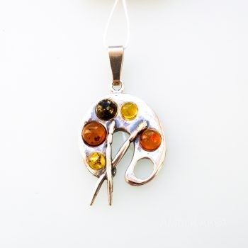 Baltic Amber And Silver Palette Pendant
