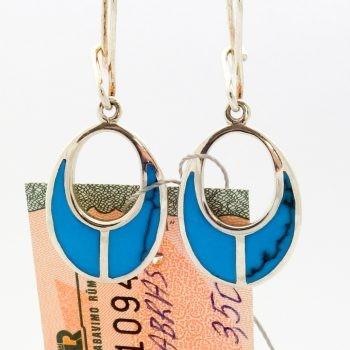 Silver Earrings With Blue Glaze