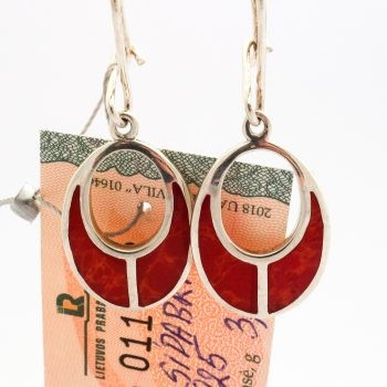 Silver Earrings With Red Glaze