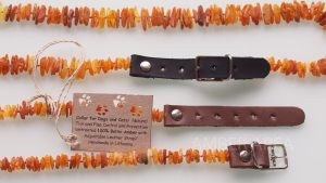 Baltic Amber Pet Necklace With Adjustable Leather Strap
